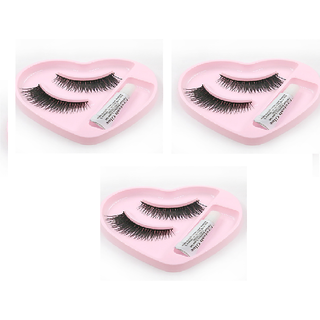 3pcs combo of artificial false eyelashes with glue in heart shape box
