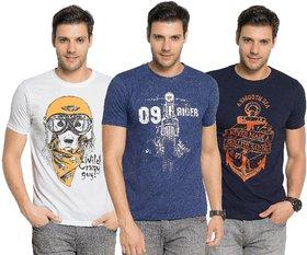 Zorchee Men's Round Neck Half Sleeve Cotton Printed T-Shirts (Pack of 3) - White, Navy Melange  NavySmall