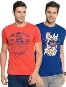 Zorchee Men's Multicolor Printed Round Neck T-Shirt (Pack of 2)