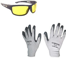 MPI Bike Riding Multipurpose Gloves and Night Drive Glares Goggle Combo