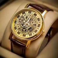 TRANSPARENT Round Dial Brown Leather Strap Quartz Watch