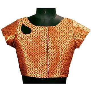 Stitch O Fab Maroon Brocade Women Blouse-114 SOFmtpbwb114