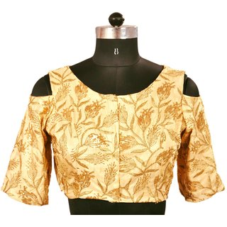 Beige Gold sequence embroidery Women Blouse-115