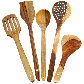 Design Wooden Spoon Set Of 5 1 Frying, 1 Serving, 1 Spatula, 1 Chapati Spoon