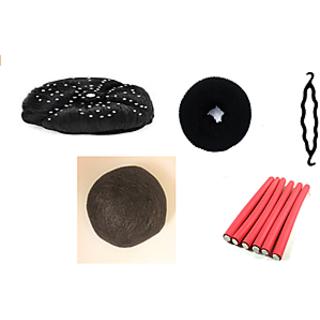 combo  5 pcs of artificial  bindi juda hair donut hair bun maker hair padding 6 red stick roller