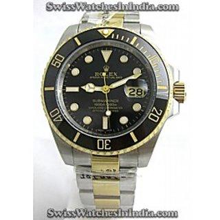 Want To Buy Black Dial Dual Tone Bracelet Luxury Mens Watch