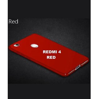 PAKY 360 Degree Full Protection Front Back Cover Case with Tempered Glass+ Cleaning paper For Redmi 4 Red Color 360 Degree Cover