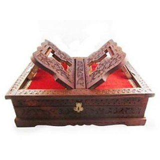 WOODEN HAND CARVED HOLY BOOK STAND AND BOX FOR QURAN BIBLE GITA VED GURU GRANTH