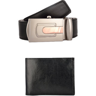 Exotique Mens Black Formal Belt & Wallet Combo