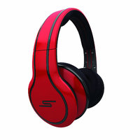 SMS Audio Wired Street By 50 Cent Over-Ear Headphones With Mic By Callmate -Red