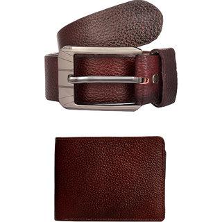 Exotique Mens Red Casual Belt & Wallet Combo (EC0023RD)