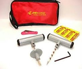 Bike and Car Tubeless Tyre Puncture Repair Kit with plug, cutter and carry case