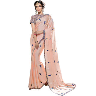 PR Fashion Silk Georgette Peach Saree With Unstitched Blouse