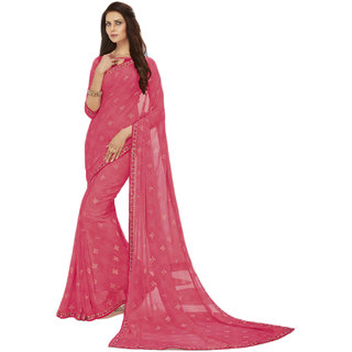 PR Fashion Georgette Pink Saree With Unstitched Blouse
