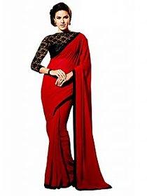 Bhuwal Fashion Purple Chiffon Plain Saree With Blouse