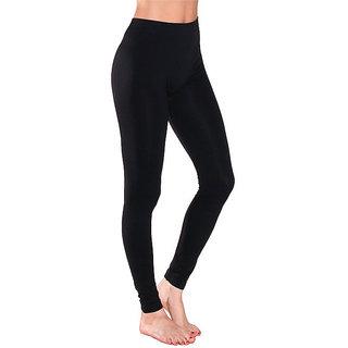 Black Cotton Lycra Full Length Legging