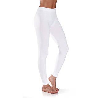 White Cotton Lycra Full Length Legging