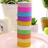 Multicolour glitter decorative tape for gift and many more pack of 10 pieces