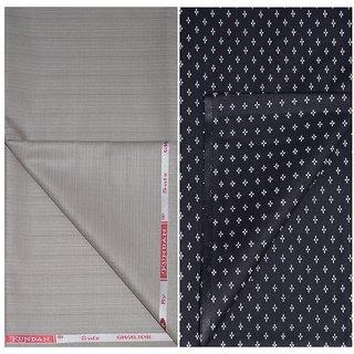 Kundan Sulz Gwalior Men's Executive Pure Cotton Black Print Shirt & Beige Color Fancy Formal Trouser Fabric in Self Stripe Pattern ( 1 Pant Shirt Piece for Men )