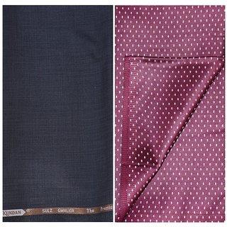 Kundan Sulz Gwalior Men's Executive Pure Cotton Print Shirt & Fancy Dark Brown Color Trouser Fabric Combo Set ( 1 Pant Shirt Piece for Men )