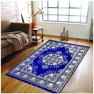 Status Cotton Ethnic Blue carpet 4.5 x 6 Feet 1pc