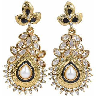 Maayra Women Earrings Wedding Alloy Dangler Drop Black Kundan Jewellery