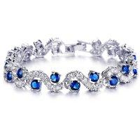 Mahi Rhodium Plated Rich Royal Blue Crystals Bangle For Women BR1100276R