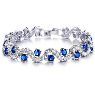 Mahi Rhodium Plated Rich Royal Blue Crystals Bangle For Women BR1100276R
