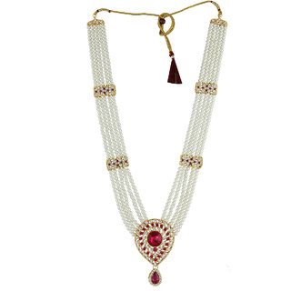 Anuradha Art Pink Colour Studded With Sparkling Stone & Woven Pearl Beads Traditional Maharashtrian Long Rani Haar Necklace For Women/Girls