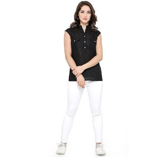 SMARTY PANTS Women Black Solid Shirt Style Top