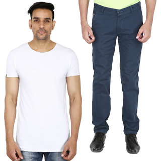Stallion Men's Casual Combo Pack Of Trouser  T-Shirt by Be You (Navy Blue-White)
