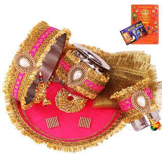 Creativity CentreAttractive Pink N Golden Karwa Chauth Pooja Thali Set