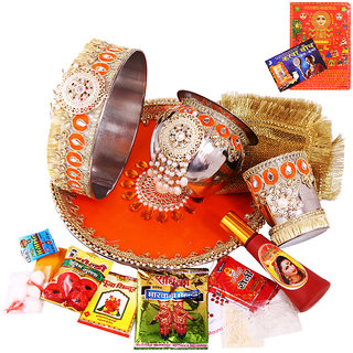 Creativity CentreVibrant Color Designer Karwa Chauth Pooja Thali Set N  Pooja Accessories