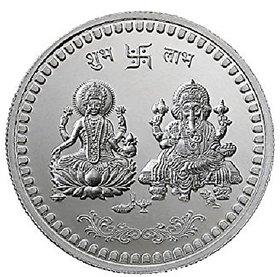 Jaipur Gemstone 5GM 100Pure Silver Laxmi Ganesh Coin For Diwali Pooja