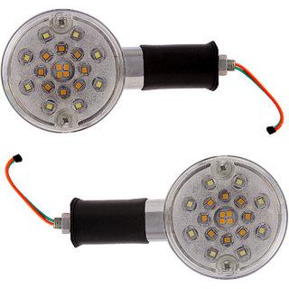 Autofy LED Side Indicator / Turning Light Set For Bajaj Avenger & Royal Enfield Bullet Standard Classic Desert Storm Electra Thunderbird (Set Of 2 Chrome And Black)