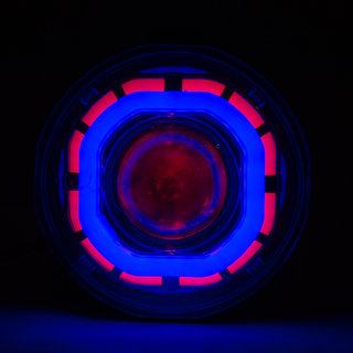 Autofy Dual Angel Ring COB LED Universal Projector Headlight For All Bikes (Blue And Red)