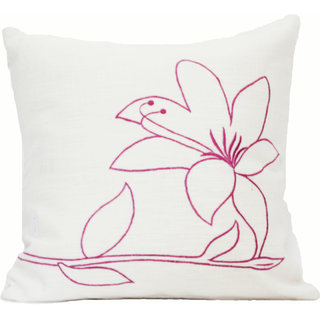 Blueberry Home Floral Embroidered 16 x 16 Inch Cushion Cover