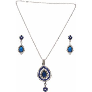 Memoir Antoque Silver plated Pearl, Blue and White CZ studded Pear shaped pendant set with matching earring, fashion pendant jewellery Women