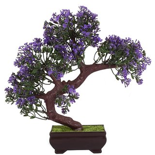 Adaspo Bonsai Tree with Green Leaves and Blue Flowers