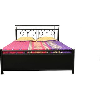 Queen size metal bed with lifton storage.Fine Living Furniture.