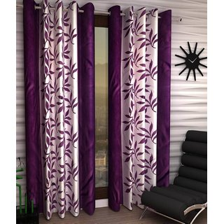 Styletex Floral Polyester Purple Window Curtain (1 Pcs)