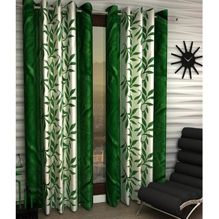 Styletex Floral Polyester Green Window Curtain (1 Pcs)