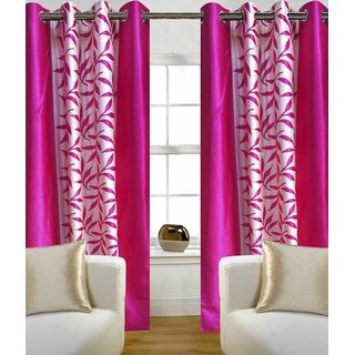 Styletex Floral Polyester Pink Window Curtain (1 Pcs)