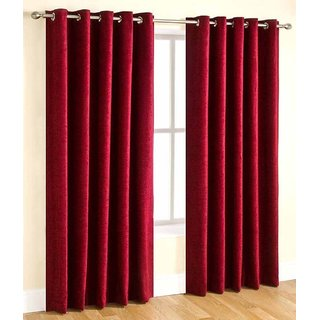 Styletex Plain Polyester Maroon Window Curtain 1 Pcs