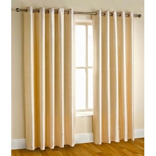 Styletex Plain Polyester Gold Window Curtain (1 Pcs)