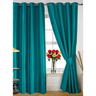 Styletex Plain Polyester Aqua Window Curtain (1 Pcs)