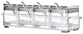 CONNECTWIDE  Crystal Seasoning Box,Seasoning Rack Spice Pots,Crystal Seasoning Acrylic Box Pepper Salt Spice Rack
