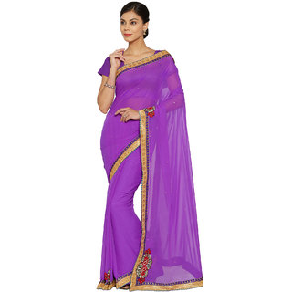 Florence Purple Faux Georgette  Embroidered  Daily Wear Saree with Blouse