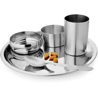 Combo Of  Stainless Steel 7 PC Dinner Thali Bowl Spoon Set With Set Of 6 Mug Set