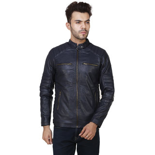 Pu Leather Plain  Biker Casual Jacket For Boys  Men